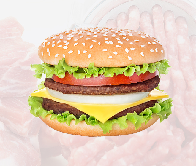 Fat analysis and x-ray inspection of burgers